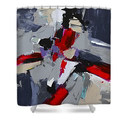 Shower Curtain featuring the painting Red And Grey Abstract By Elise Palmigiani by Elise Palmigiani