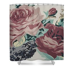Red And Pink Flowers Shower Curtain