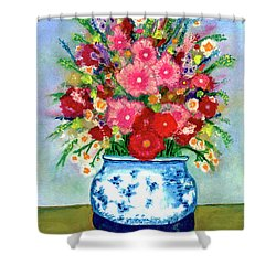 Red And Pink Rose Flower Garden Still Life Painting 615 Shower Curtain