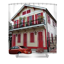 Shower Curtain featuring the photograph Red And Tan House by Steven Spak