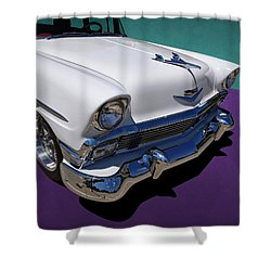 Red And White 1950s Chevrolet Wagon Shower Curtain