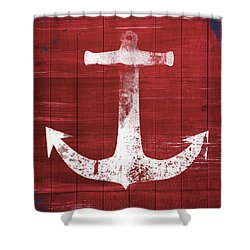 Shower Curtain featuring the mixed media Red And White Anchor- Art By Linda Woods by Linda Woods