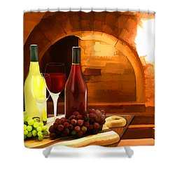 Red And White In The Cellar Shower Curtain by Elaine Plesser
