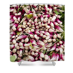Red And White Radishes Shower Curtain by John Trax
