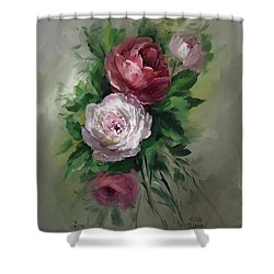 Red And White Roses Shower Curtain by David Jansen