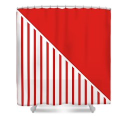 Red And White Triangles Shower Curtain