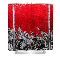 Red And White Window # 1 Shower Curtain