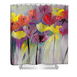 Red And Yellow Floral Field Painting Shower Curtain by Lisa Kaiser