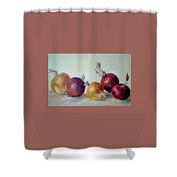 Red And Yellow Onions Shower Curtain