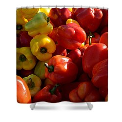 Red And Yellow Peppers Shower Curtain by Diane Lent
