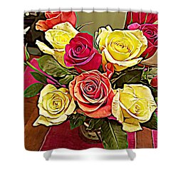 Red And Yellow Rose Bouquet Shower Curtain