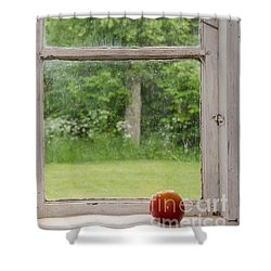 Shower Curtain featuring the photograph Red Apple At An Old Windowsill by Kennerth and Birgitta Kullman