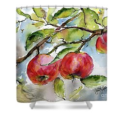 Red Apples And Bees Tree Branch Shower Curtain