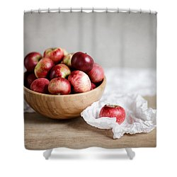 Red Apples Still Life Shower Curtain by Nailia Schwarz