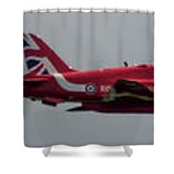 Red Arrow Straight - Teesside Airshow 2016 Shower Curtain by Scott Lyons