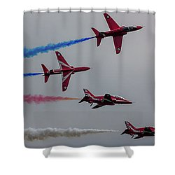 Red Arrows Break Off - Teesside Airshow 2016 Shower Curtain by Scott Lyons