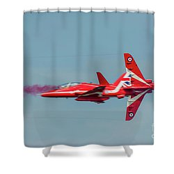 Shower Curtain featuring the photograph Red Arrows Crossover by Gary Eason