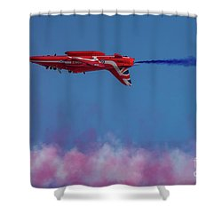 Shower Curtain featuring the photograph Red Arrows Hawk Inverted  by Gary Eason