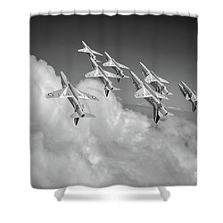 Shower Curtain featuring the photograph Red Arrows Sky High Bw Version by Gary Eason
