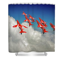 Shower Curtain featuring the photograph Red Arrows Sky High by Gary Eason