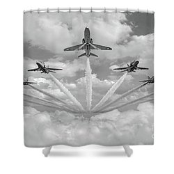 Shower Curtain featuring the photograph Red Arrows Smoke On Bw Version by Gary Eason