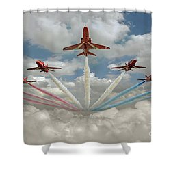 Shower Curtain featuring the photograph Red Arrows Smoke On  by Gary Eason