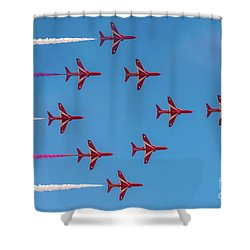 Shower Curtain featuring the photograph Red Arrows Typhoon Formation by Gary Eason