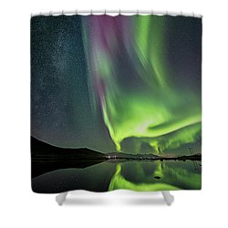 Red Auroras And A Faint Milky Way Shower Curtain