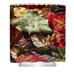 Shower Curtain featuring the painting Red Autumn - Wasilla Leaves by Karen Whitworth