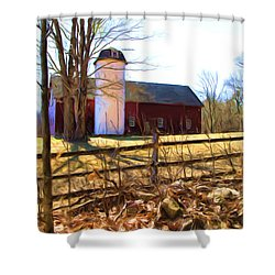 Red Barn And Silo  Shower Curtain