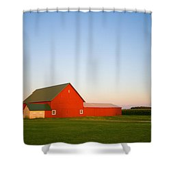 Red Barn And The Moon Shower Curtain