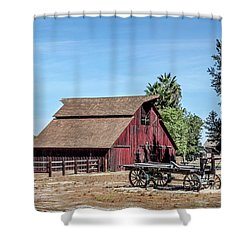 Red Barn And Wagon Shower Curtain