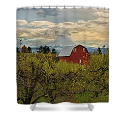 Red Barn At Pear Orchard Shower Curtain