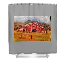 Red Barn Painting Shower Curtain by Belinda Lawson