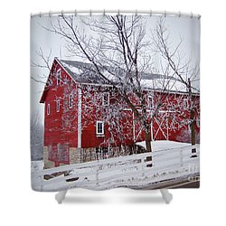 Red Barn Circa 1876 Shower Curtain by Sue Stefanowicz