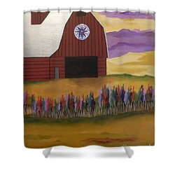 Red Barn Golden Landscape Shower Curtain
