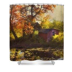 Red Barn In Autumn Shower Curtain by Joann Vitali