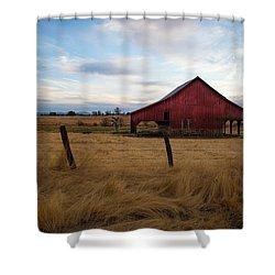 Red Barn In California Shower Curtain