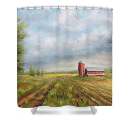 Shower Curtain featuring the painting Red Barn In Spring by  Luczay