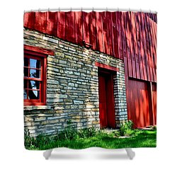 Red Barn In The Shade Shower Curtain
