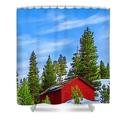 Red Barn On A Hill Shower Curtain
