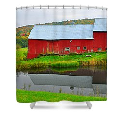 Red Barn On Jenne Farm Shower Curtain