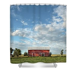 Red Barn On The Prairie Shower Curtain