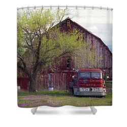 Red Barn Red Truck Shower Curtain by Toni Hopper