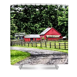 Red Barn Shower Curtain by Susan Savad