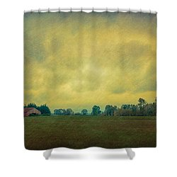 Red Barn Under Stormy Skies Shower Curtain