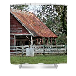 Red Barn With A Rin Roof Shower Curtain by Lynn Jordan