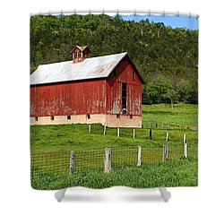 Red Barn With Cupola Shower Curtain