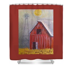 Red Barn With Windmill Shower Curtain by Belinda Lawson