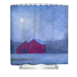 Red Barns In The Moonlight Shower Curtain by Nikolyn McDonald